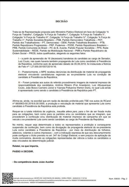 Screenshot 20180929 190159 e1538259553152 - MULTAS DE ATÉ R$ 65 MIL: TRE proíbe candidatos e partidos de utilizarem material de campanha com Lula como candidato a presidente
