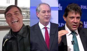 bolsonaro ciro haddad 300x175 - PESQUISA PRESIDENCIAL: Bolsonaro lidera com 26% Ciro e segundo e Haddad terceiro diz XP/Ipespe - VEJA TODOS OS NÚMEROS