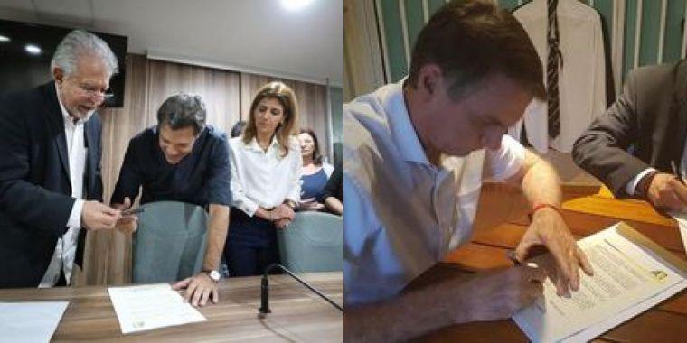 1539824652822791 - Bolsonaro e Haddad assinam termo de compromisso à Constituição