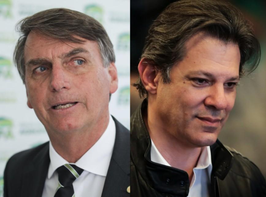Bolsonaro Haddad 2 4 1 1 868x644 - Pesquisa CNT/MDA aponta Bolsonaro com 13 pontos de vantagem para Haddad