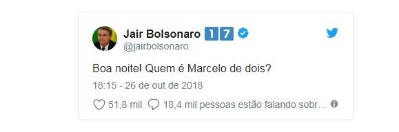 bolsonaro d2 - Bolsonaro pergunta quem é Marcelo 'de dois' e recebe resposta do rapper