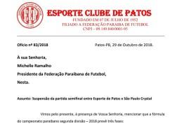 Esporte de Patos solicita que a FPF paralise a 2ª divisão até que o caso da Perilima seja julgado