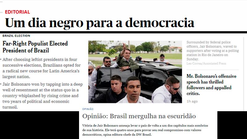 jornais - Mídia internacional destaca chegada da extrema-direita ao poder e dias sombrios para a democracia no Brasil