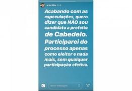 'COMO ELEITOR E NADA MAIS' Ex deputado recusa candidatura à prefeitura de Cabedelo