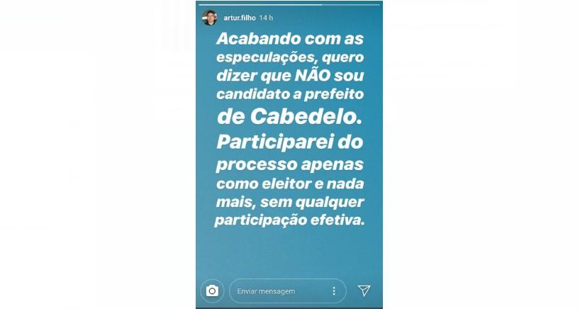 post arthur filho - 'COMO ELEITOR E NADA MAIS' Ex deputado recusa candidatura à prefeitura de Cabedelo