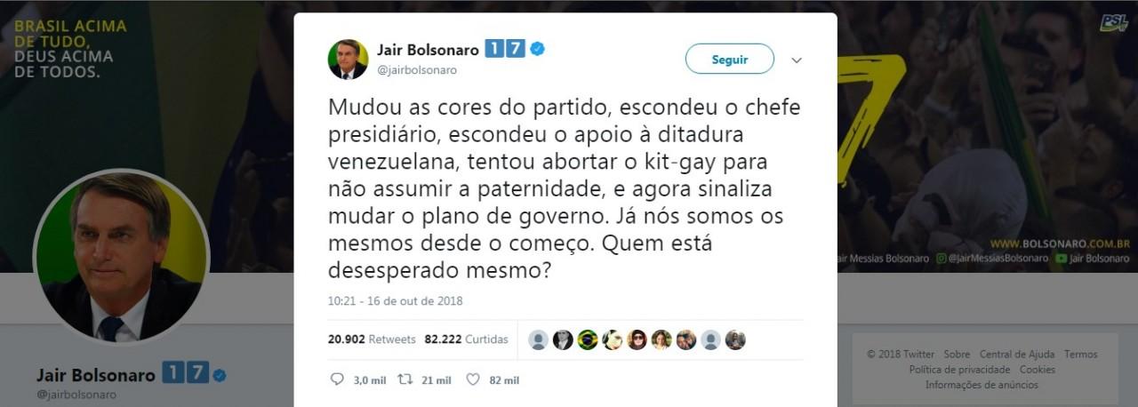 twitter boolsonaro - 'Kit Gay' Tudo que você precisa saber sobre o alvo de Bolsonaro: VEJA VÍDEOS