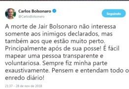 FOGO AMIGO: Filho de Bolsonaro diz que 'morte do pai interessa aos que estão perto'