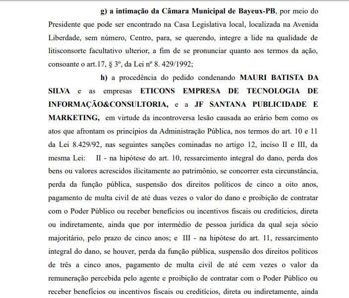 Processo Noquinha 3 - MPPB pede a condenação de Noquinha por irregularidades em contratos de publicidade na Câmara Municipal de Bayeux