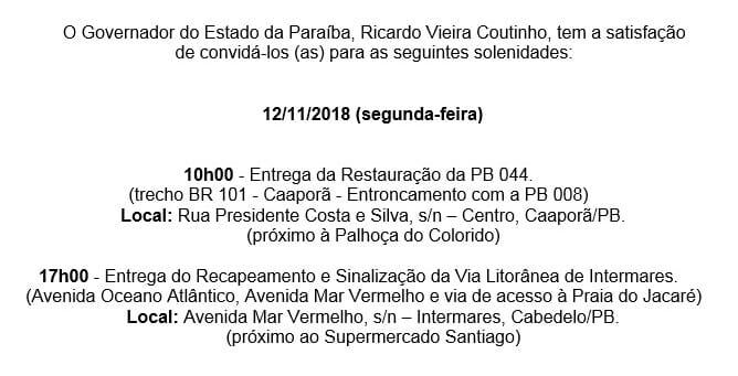 WhatsApp Image 2018 11 10 at 10.11.08 - Governador Ricardo Coutinho entrega obras da PB 004 e Via Litorânea de Cabedelo, nesta segunda-feira