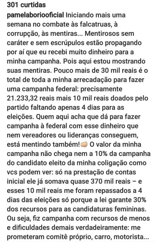 WhatsApp Image 2018 11 11 at 16.11.55 - 'MENTIROSOS SEM CARÁTER E SEM ESCRÚPULOS': Pâmela Bório reclama da direção do PSL e compara gastos de sua campanha com doações para Jullian Lemos