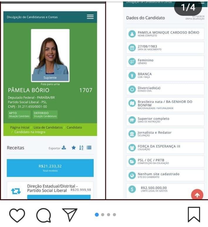 WhatsApp Image 2018 11 11 at 16.23.08 - 'MENTIROSOS SEM CARÁTER E SEM ESCRÚPULOS': Pâmela Bório reclama da direção do PSL e compara gastos de sua campanha com doações para Jullian Lemos