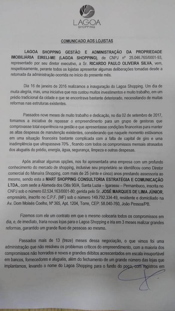 WhatsApp Image 2018 11 13 at 2.13.06 PM 1 - FECHA DIA 19: Diretor diz que gestão levou Lagoa Shopping para 'o fundo do poço'