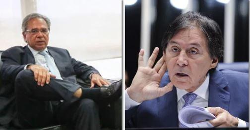 paulo guedes e eunicio - 'QUE MERDA': Requião protesta contra número de militares no governo Bolsonaro e economista que não entende de LOA