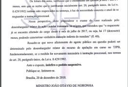 Presidente do STJ não vê razão para determinar novo afastamento de Berg Lima – LEIA A DECISÃO