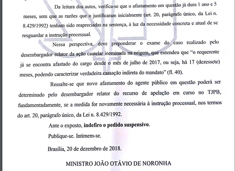DECISÃO BERG - Presidente do STJ não vê razão para determinar novo afastamento de Berg Lima - LEIA A DECISÃO