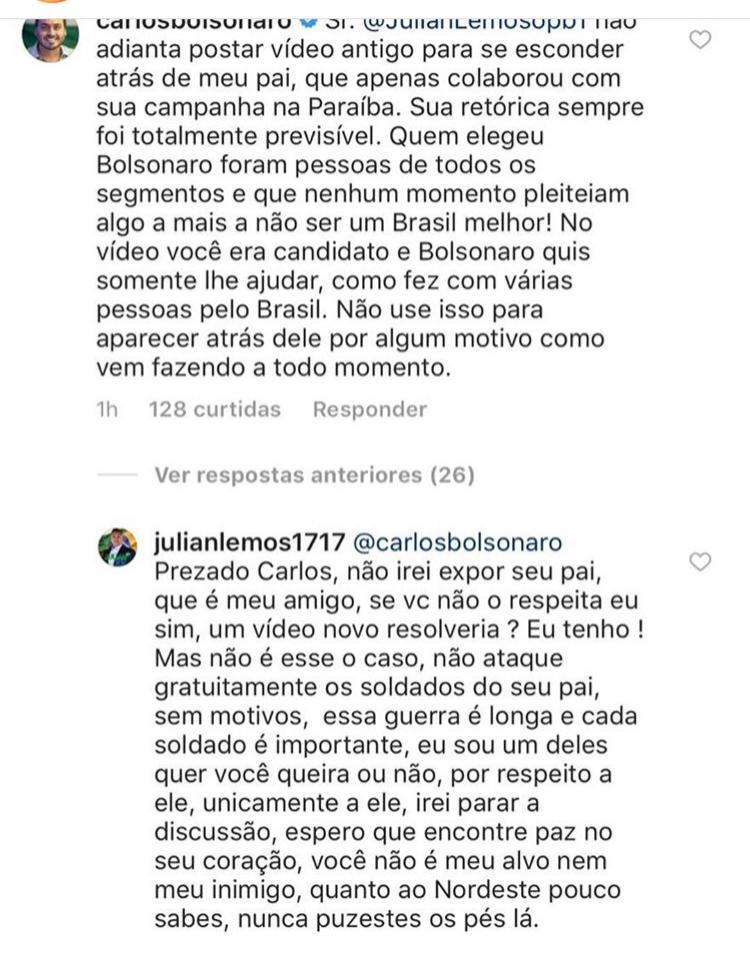 WhatsApp Image 2018 12 05 at 22.24.51 - Carlos Bolsonaro comenta publicação de Julian Lemos: 'Não adianta postar vídeo antigo para se esconder atrás do meu pai'