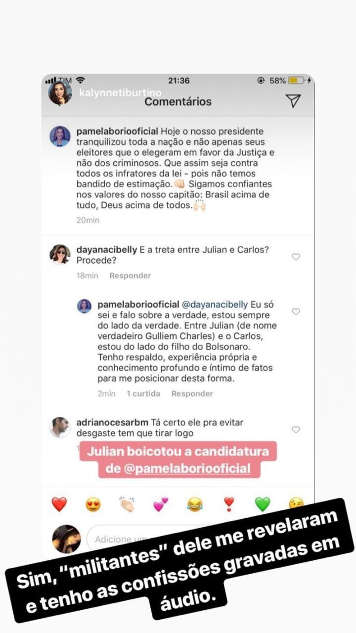 WhatsApp Image 2018 12 06 at 10.57.45 - 'NÃO TEMOS BANDIDO DE ESTIMAÇÃO': Pâmela Bório cutuca Julian Lemos sobre arenga com Carlos Bolsonaro