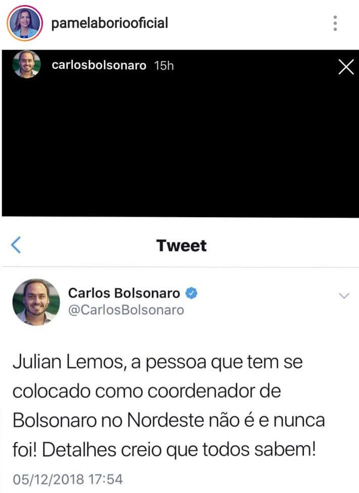 WhatsApp Image 2018 12 07 at 09.57.38 1 e1544187633355 - 'NÃO TEMOS BANDIDO DE ESTIMAÇÃO': Pâmela Bório cutuca Julian Lemos sobre arenga com Carlos Bolsonaro