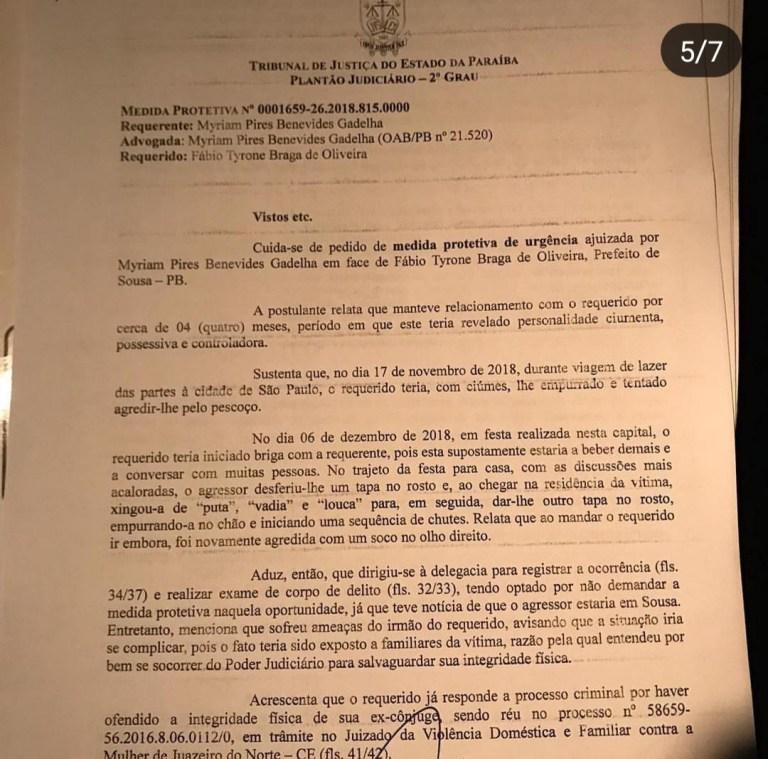 WhatsApp Image 2018 12 08 at 22.20.41 - FILHA DE SALOMÃO GADELHA: Prefeito de Sousa, Fábio Tyrone agride ex-companheira e é denunciado à Justiça - VEJA FOTOS