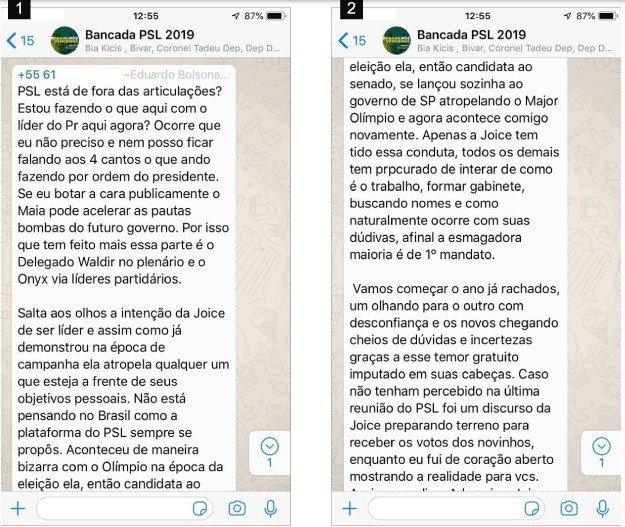 p1 - Aliados de Bolsonaro protagonizam 'barraco' em grupo de WhatsApp, confira prints da  discussão vazada por Joice Hasselmann