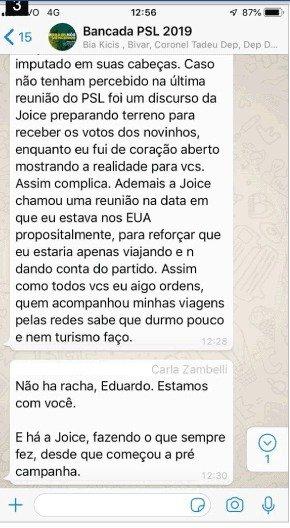 p2 - Aliados de Bolsonaro protagonizam 'barraco' em grupo de WhatsApp, confira prints da  discussão vazada por Joice Hasselmann