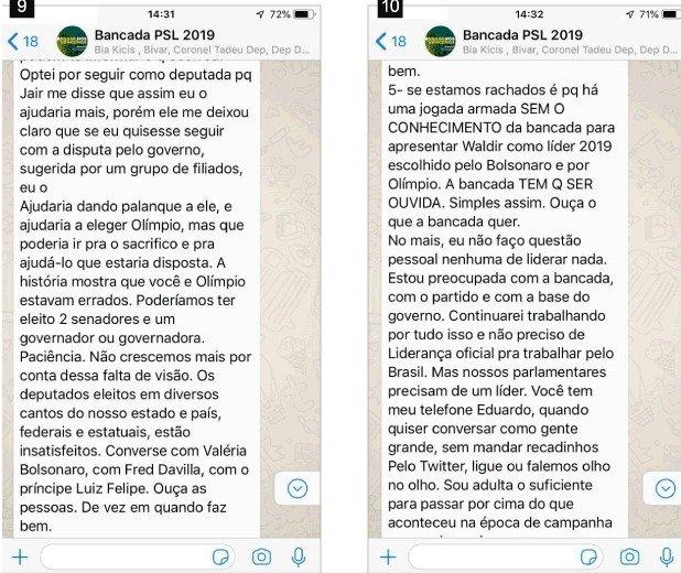 p6 - Aliados de Bolsonaro protagonizam 'barraco' em grupo de WhatsApp, confira prints da  discussão vazada por Joice Hasselmann