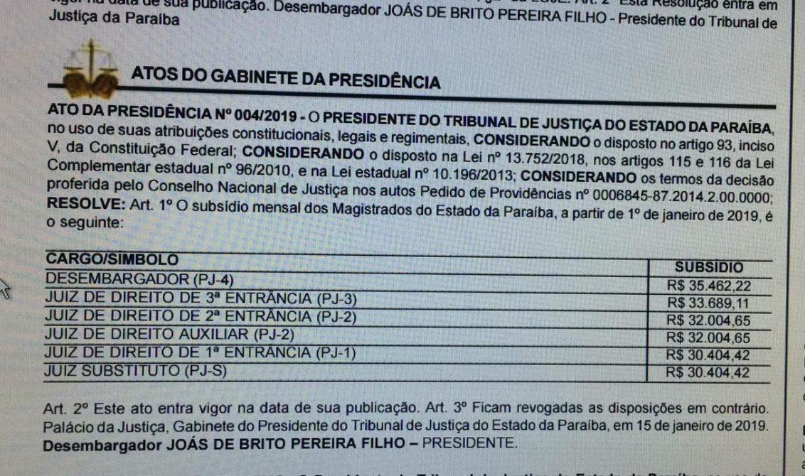 WhatsApp Image 2019 01 16 at 08.57.56 1132x670 - Diário da Justiça traz reajuste para juízes e desembargadores na Paraíba