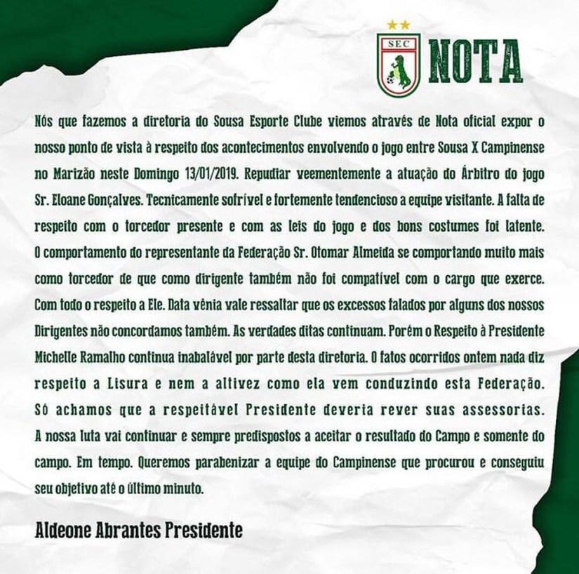 aldeone nota sousa - FPF publica nota respondendo críticas feitas pelo presidente do Sousa, Aldeone Abrantes