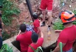 VEJA VÍDEO: Bombeiros resgatam criança que caiu em córrego ao tentar resgatar cachorro