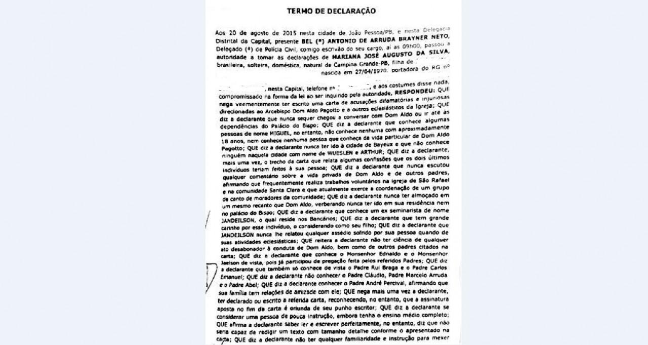 carta corrigida - COMO TUDO  COMEÇOU: Relembre a carta que revelou o maior escândalo da igreja católica paraibana