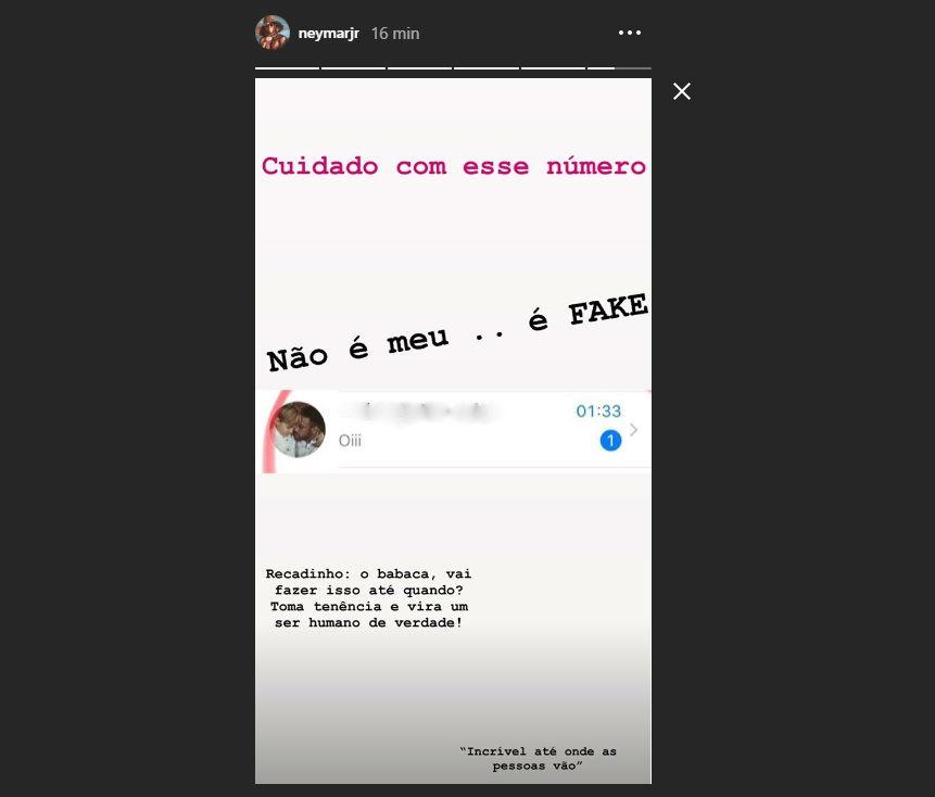 neymar fake 2 - Neymar usa redes sociais para denunciar perfil fake que fingia ser ele: 'Babaca'