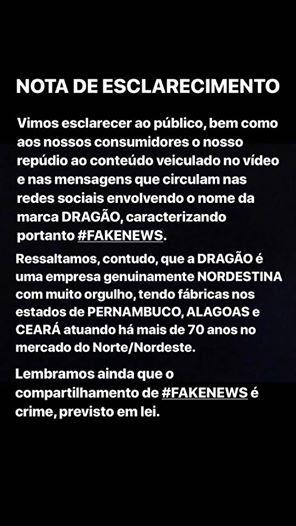 nota - FAKENEWS: água sanitária Dragão divulga comunicado e desmente boatos sobre vídeo contra Nordestinos