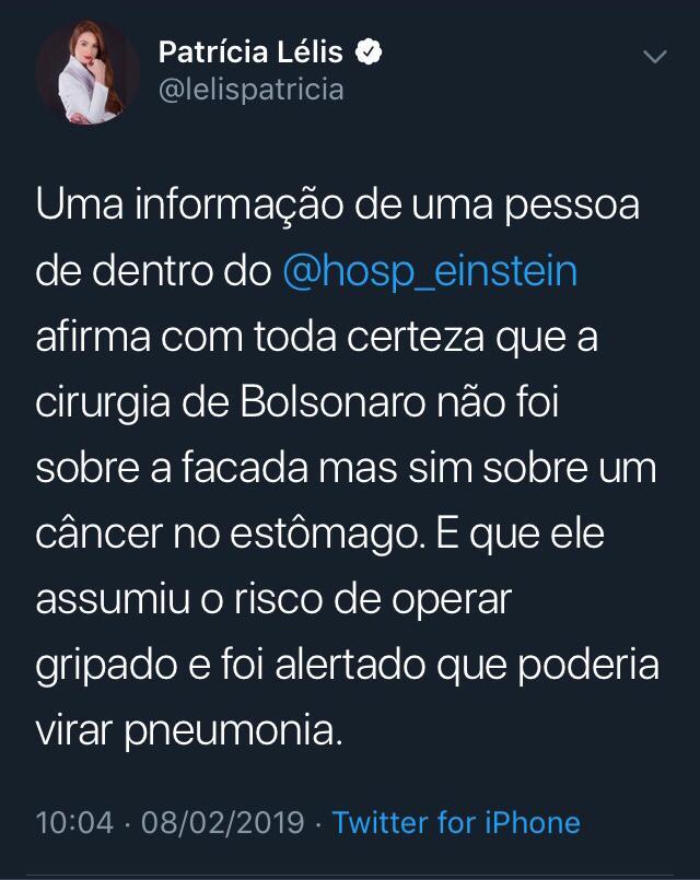 acusação falsa - Patrícia Lélis recebe críticas após relacionar chuvas no Rio ao Governo Bolsonaro e colocar em dúvida cirurgia do presidente