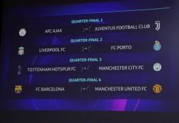Juventus encara Ajax, e Barcelona enfrenta United nas quartas de final da Liga dos Campeões