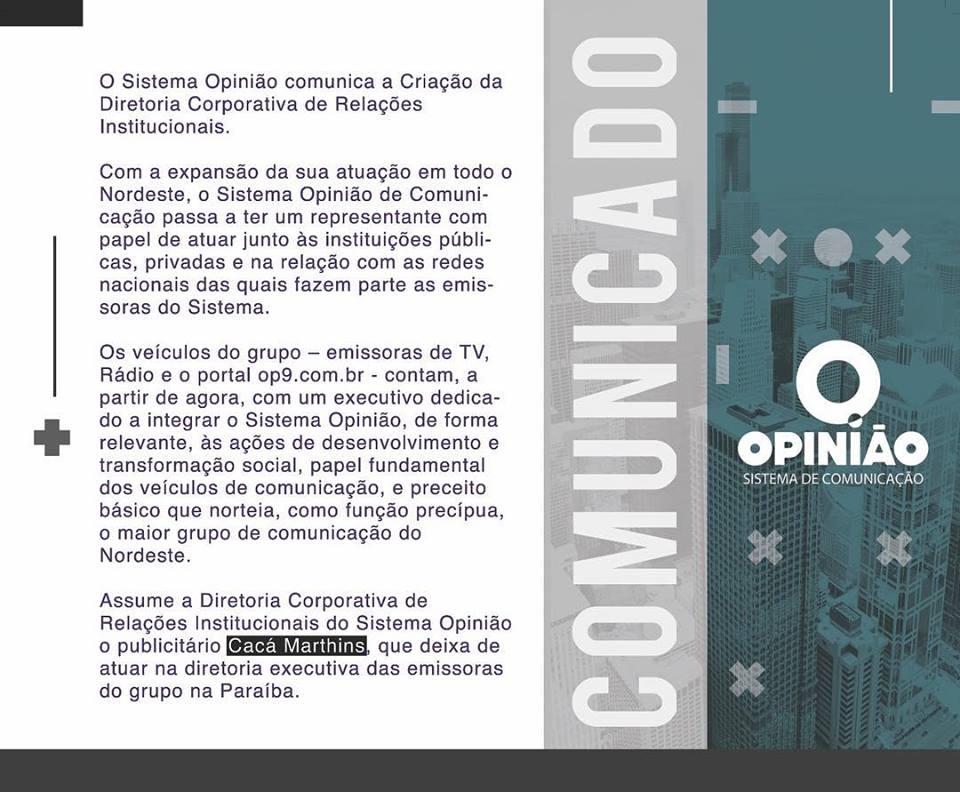 Cacá Marthins - MUDANÇA NA TV BANDEIRANTE: Executivo Caca Marthins deixa a direção da TV Manaíra e Rádio Bandnews - ENTENDA