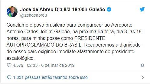 Capturar 1 - Autoproclamado presidente da República, Zé de Abreu convoca o povo para sua posse e pede impeachment de Bolsonaro