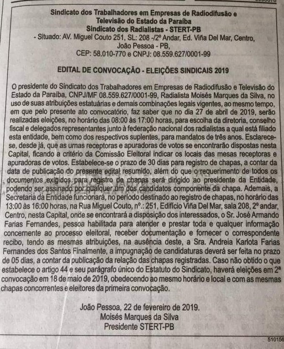 EDITAL RADIO - Sindicato dos radialistas da Paraíba marca eleições para abril; VEJA EDITAL