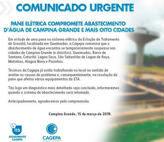 WhatsApp Image 2019 03 16 at 00.29.19 - Pane elétrica compromete abastecimento d'água de Campina Grande e mais oito cidades