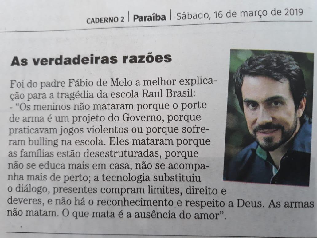WhatsApp Image 2019 03 16 at 11.14.37 - ERA FAKE NEWS: texto sobre Suzano não é do Padre Fábio de Mello e Correio da Paraíba replica mensagem falsa