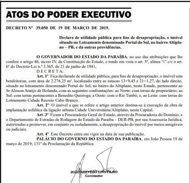 desapropriacao   vias do atlantico 300x289 - Desapropriação de terreno é feita para construir ligação entre Bancários e Altiplano por determinação do Governo estadual