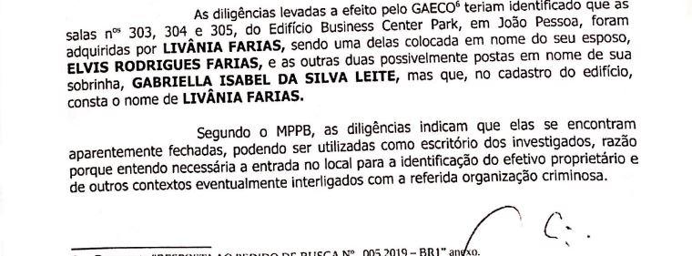 liva - TERCEIRA FASE: salas de empresarial no nome de Livânia Farias estariam sendo usadas como escritório dos investigados, diz MPPB