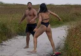 Suspeito de praticar ato obsceno em praia apanha de lutadora de MMA