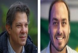 Haddad e Carlos Bolsonaro brigam no Twitter após crítica de petista