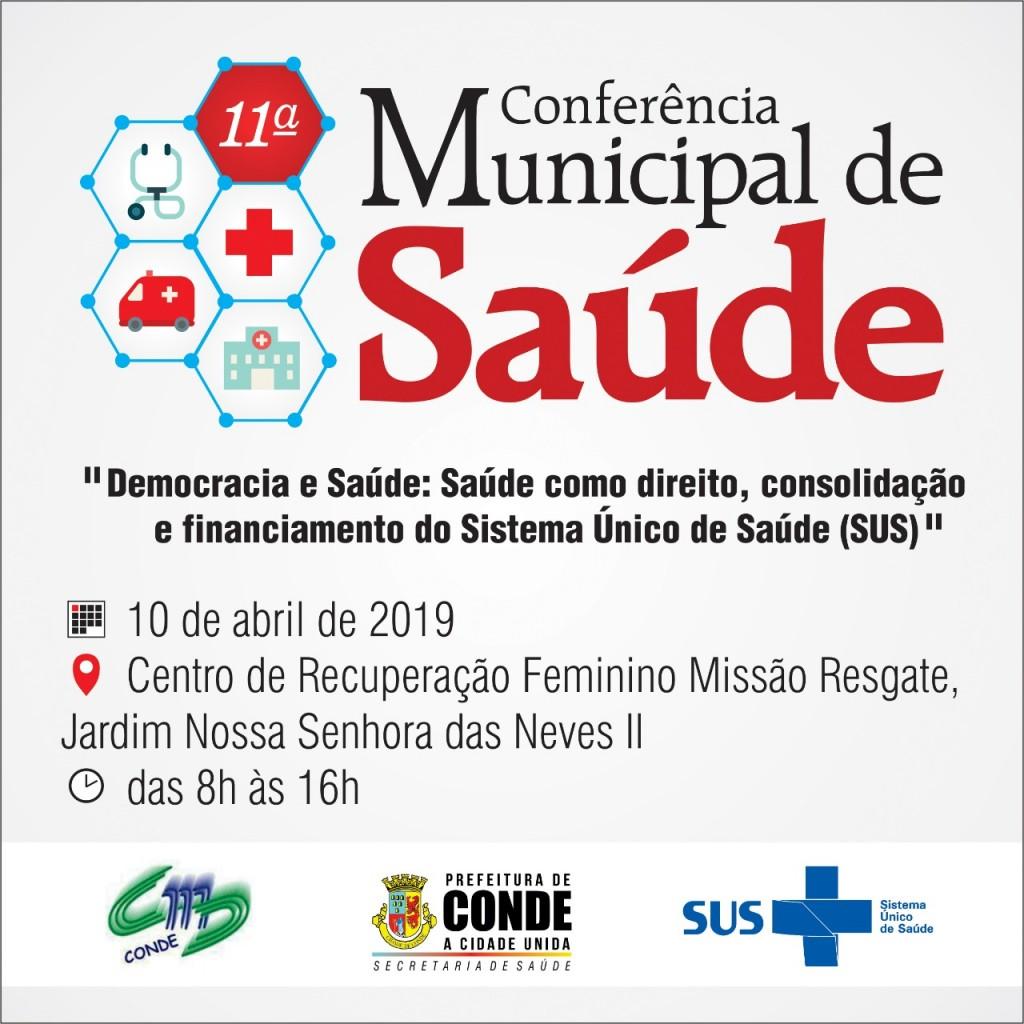 Conferência Municipal de Saúde.Conde  - Conde realiza a 11ª Conferência Municipal de Saúde nesta quarta-feira