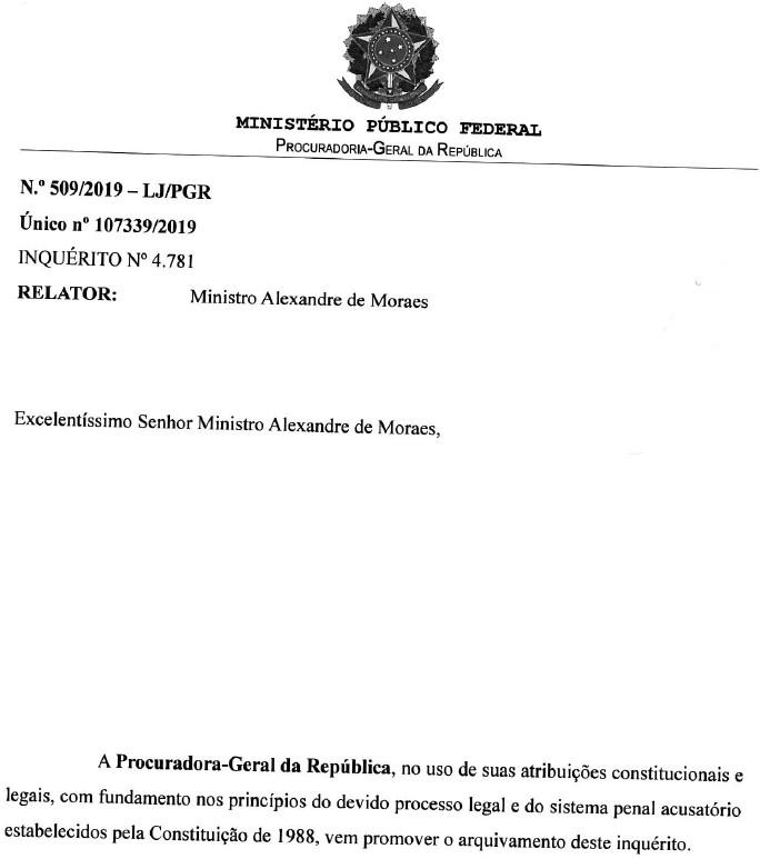 Raquel Dodge arquiva inquerito aberto por Dias Toffoli capa - Procuradoria Geral da República arquiva inquérito do STF sobre Fake News