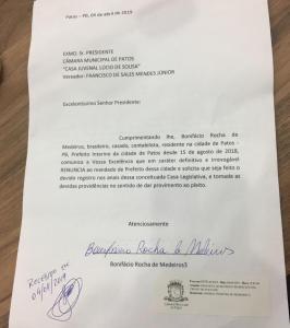 WhatsApp Image 2019 04 04 at 18.39.01 266x300 - PREFEITO DE PATOS ENTREGA CARGO: Bonifácio oficializa renúncia e presidente da câmara deve assumir nas próximas horas; leia a carta