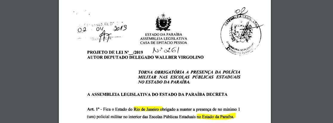 lei Wlalber ctrl C ctrl V - 'POLICIAIS DO RIO DE JANEIRO': Wallber Virgolino copia projeto de lei e esquece de apagar referências originais