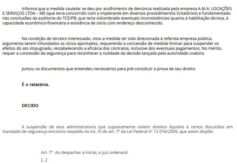 2 - EFICÁCIA RESTABELECIDA: Juiz libera pagamento da Cagepa à empresa vencedora de licitação