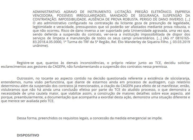 7 - EFICÁCIA RESTABELECIDA: Juiz libera pagamento da Cagepa à empresa vencedora de licitação