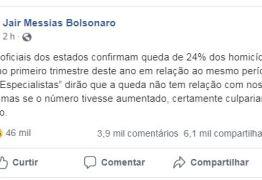 MONITOR DA VIOLÊNCIA:  Bolsonaro sugere que redução de crimes tem a ver com ações do seu mandato